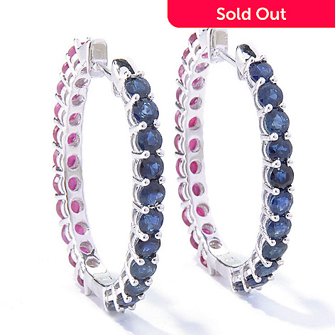 121-689 - NYC II™ 6.11ctw Blue Sapphire & Ruby Double-Sided Hoop Earrings