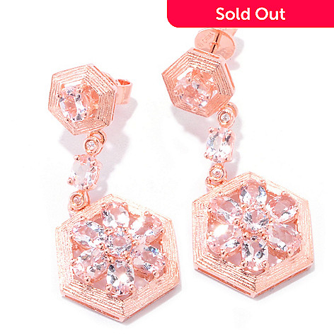 121-691 - NYC II® 2.70ctw Morganite & White Zircon 1.25'' Drop Earrings