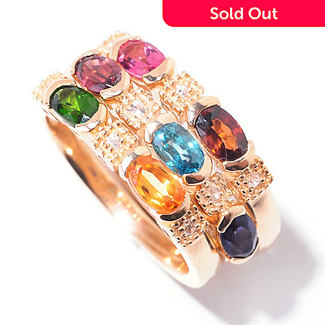 121-694 - NYC II Set of Three 2.15 ctw Multi Gemstone Stackable Rings