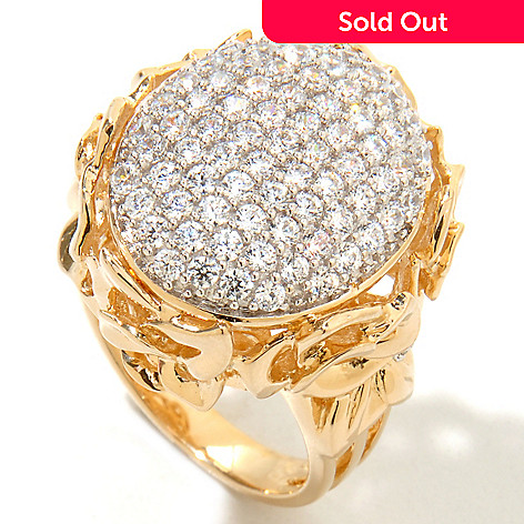 121-697 -  Sonia Bitton 2.29 DEW Pave Oval Simulated Diamond Flower Gallery Tri-Shank Ring