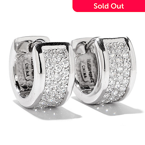 121-704 - Brilliante® Platinum Embraced™ Three-Row Round Pave Huggie Hoop Earrings