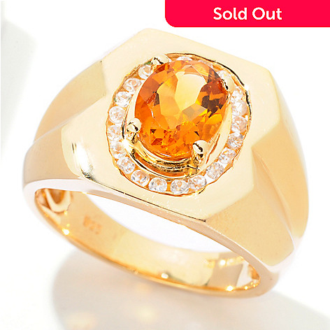 121-710 - NYC II® Men's 2.13ctw Madeira Citrine & White Zircon Ring