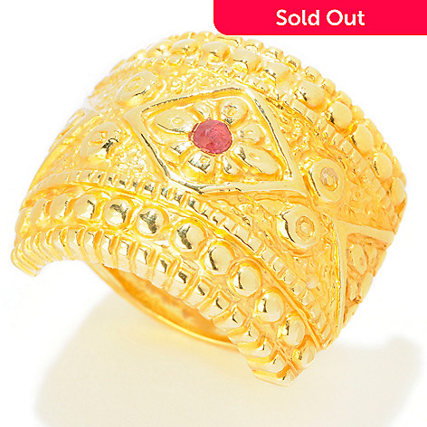 121-723 - Italian Designs with Stefano 14K ''Oro Vita'' Ruby Accent Shield Ring