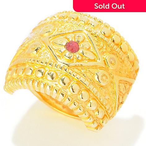 121-723 - Italian Designs with Stefano 14K ''Oro Vita'' Ruby Accent Shield Ring