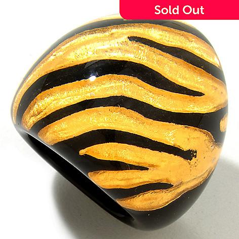 121-729 - Italian Designs with Stefano 24K ''Oro Puro'' Enamel Gold Foil Zebra Print Ring