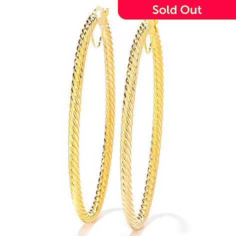 121-745 - Italian Designs with Stefano 14K Ricciolo Oro Twisted Oval Hoop Earrings