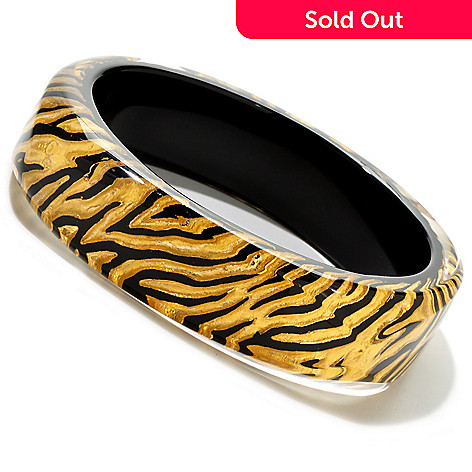 121-762 - Italian Designs With Stefano ''Oro Puro'' Enamel & 24K Gold Foil Zebra Print Bangle Bracelet