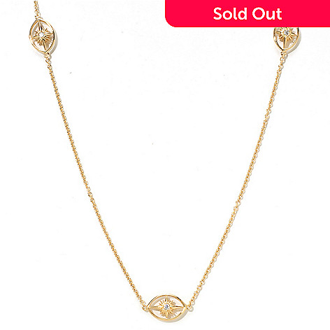 121-765 - Sonia Bitton Gold Embraced™ 24'' Simulated Diamond Starburst Station Necklace