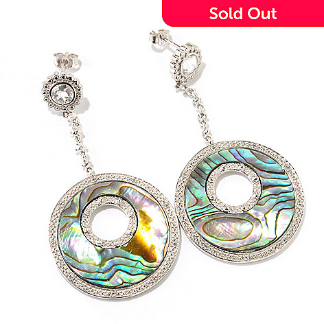121-783 - Gem Insider™ Sterling Silver 23mm Abalone & White Topaz Drop Earrings