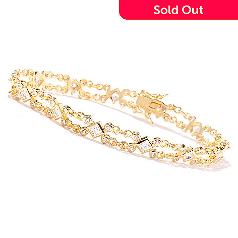 121-791 - TYCOON Square & Round TYCOON CUT Simulated Diamond Double-Chain Bracelet