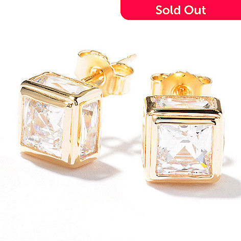 121-795 - TYCOON 4.82 DEW Simulated Diamond Square & Rectangle Stud Earrings