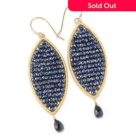 121-807 - Kristen Amato 3'' 31.56ctw Black Spinel Beaded Drop Earrings