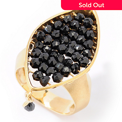 121-808 - Kristen Amato ''Linley'' 7.01ctw Black Spinel Bead Drop Ring