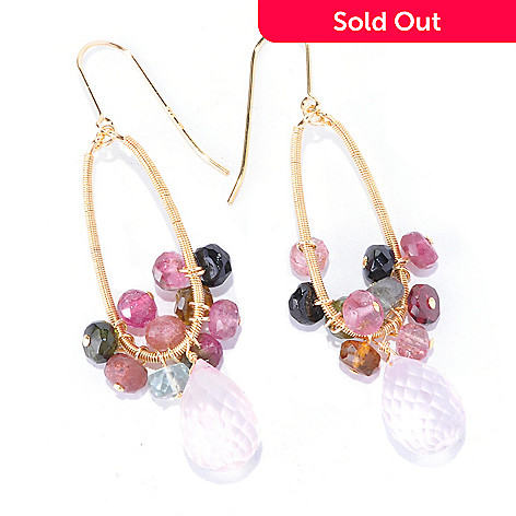 121-811 - Kristen Amato 2.25'' 25.00ctw Multi-Tourmaline & Rose Quartz Drop Earrings