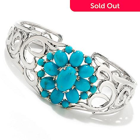 121-824 - Gem Insider Sterling Silver 7'' Turquoise Scrollwork Cuff Bracelet