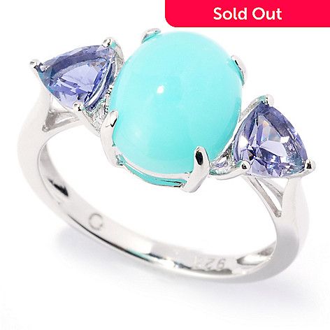 121-825 - Gem Insider™ Sterling Silver 10 x 8mm Peruvian Blue Opal & Iolite Ring