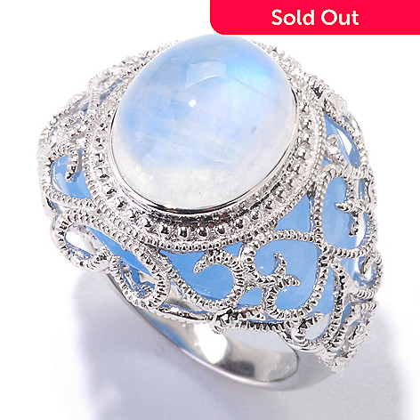 121-826 - Gem Insider Sterling Silver 12 x 10mm Moonstone & Blue Jade Ring