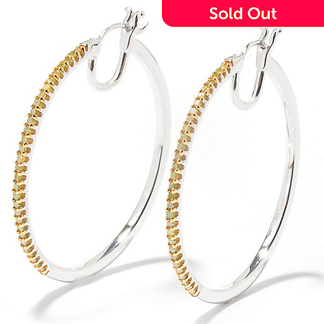 121-828 - Diamond Treasures® Sterling Silver 0.50ctw Diamond Hoop Earrings
