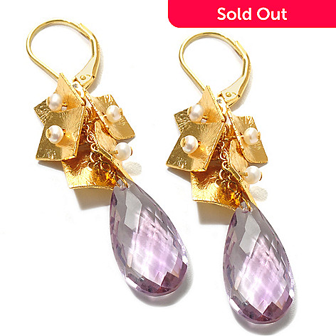 121-839 - Kristen Amato 13.50ctw Amethyst Briolette & Cultured Pearl Drop Earrings