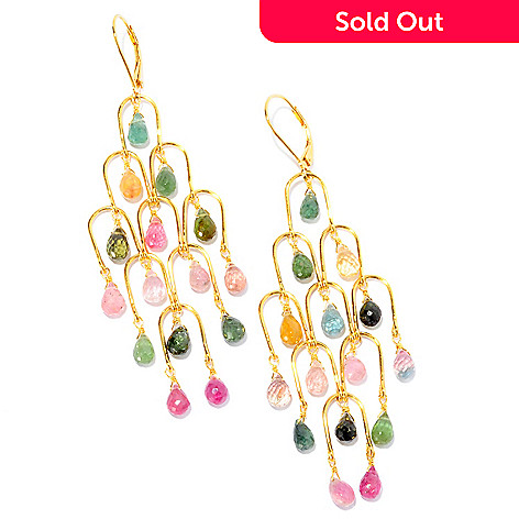 121-840 - Kristen Amato 32.10ctw Multi Tourmaline Chandelier ''Cascade'' Earrings