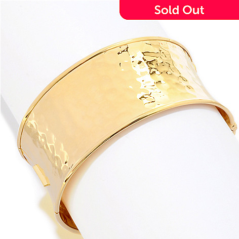 121-842 - Toscana Italiana Gold Embraced™ High-Polished Martellato Hinged Wide Bangle Bracelet