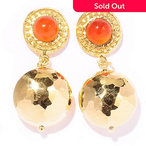 121-851 - Toscana Italiana Gold Embraced™ 2.88ctw Gemstone Fancy Hammered Drop Earrings