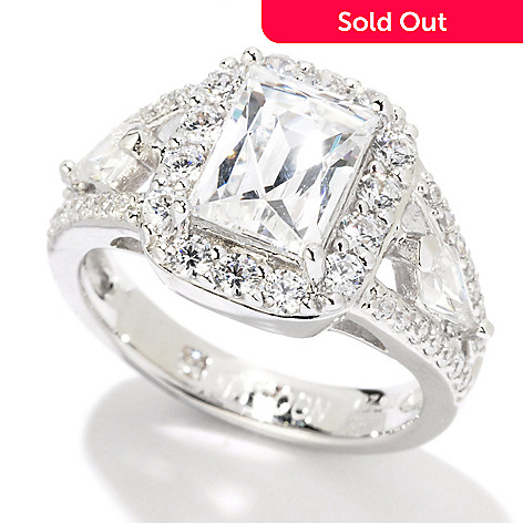 121-864 - TYCOON Platinum Embraced™ 2.76 DEW Rectangle Simulated Diamond Split Shank Ring