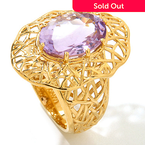 121-867 - Kristen Amato 4.86ctw Checkerboard Cut Amethyst Ring