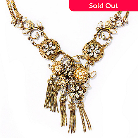 121-873 - Sweet Romance 20.5'' Gold-tone Mid Century Elements Tassel Necklace