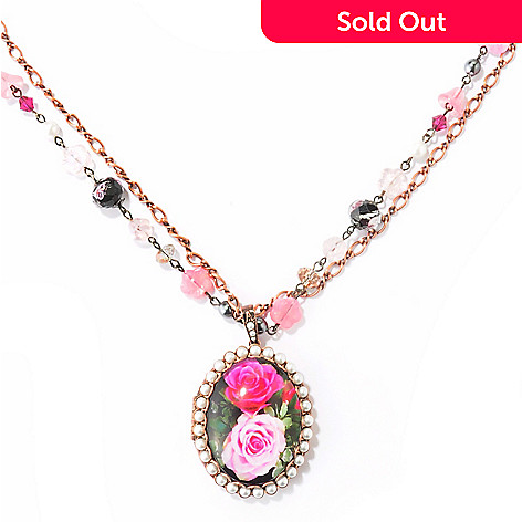 121-874 - Sweet Romance 33.5'' Crystal & Glass Painted Rose Locket Necklace w/ Extender