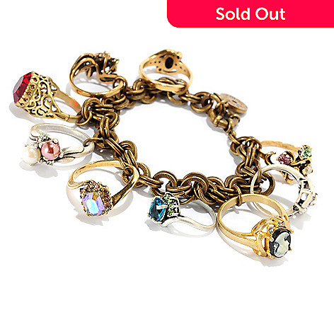 121-879 - Sweet Romance Two-tone 8'' Antique Style Charm Bracelet