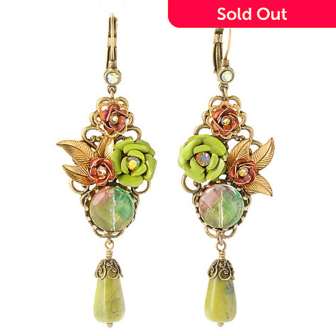 121-882 - Sweet Romance™ Gold-tone Sage & Kiwi Enamel Earrings