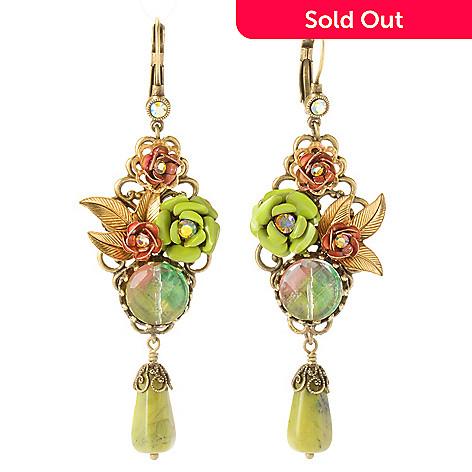 121-882 - Sweet Romance Gold-tone Sage & Kiwi Enamel Earrings