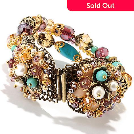 121-883 - Sweet Romance  7'' Gold-tone Freshwater Cultured Pearl Multi Strand Flower Bracelet