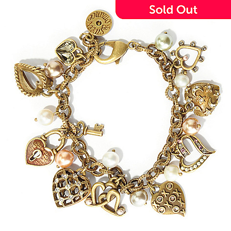 121-884 - Sweet Romance™ 7.75'' Gold-tone ''Ways To Say I Love You'' Charm Bracelet