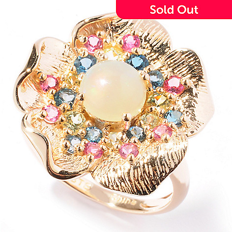 121-890 - NYC II™ 1.78ctw Multi Gemstone Textured Flower Ring