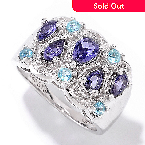 121-893 - NYC II™ 1.07ctw Iolite, Apatite & Diamond Ring