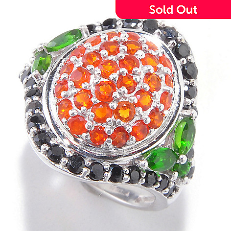 121-894 - NYC II 2.18ctw Fire Opal, Black Spinel & Chrome Diopside Ring