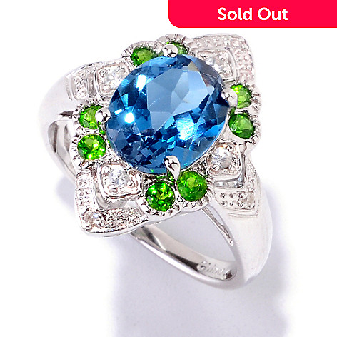 121-895 - NYC II™ 3.20ctw London Blue Topaz, Chrome Diopside & White Zircon Accent Ring