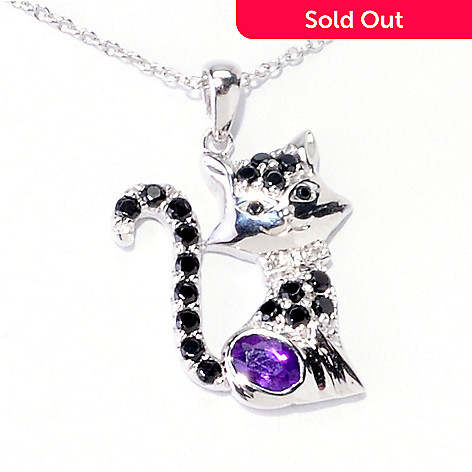 121-898 - NYC II® 1.11ctw Purple Amethyst, Black Spinel & Diamond Accent Cat Pendant