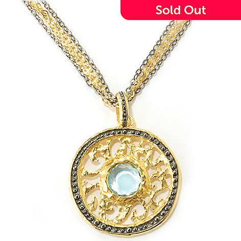 121-900 - Toscana Italiana Gold Embraced™ 24'' Multi Strand Necklace & Blue Topaz Medallion