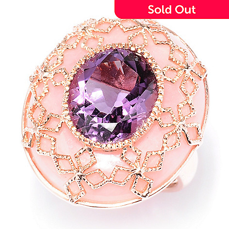 121-902 - NYC II™ 15.88ctw Oval  Amethyst & Pink Opal Ring