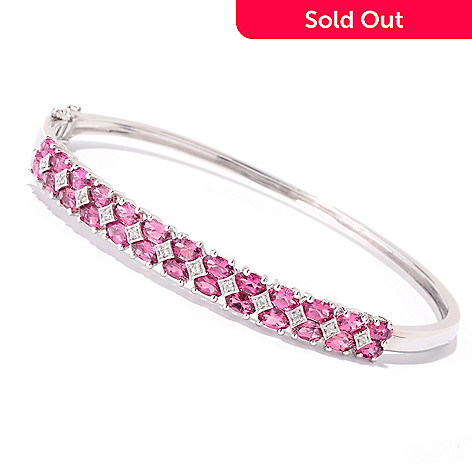 121-905 - NYC II 4.92ctw Pink Tourmaline & White Zircon Bangle Bracelet