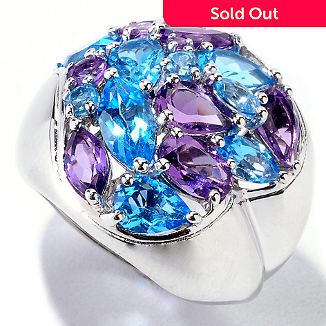 121-907 - Gem Insider Sterling Silver 4.10ctw Swiss Blue Topaz & Amethyst Heart Shaped Ring