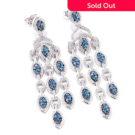 121-908 - Diamond Treasures® Sterling Silver 0.75ctw Blue Diamond Drop Earrings
