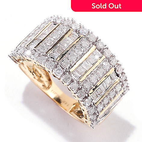 121-910 - Diamond Treasures 14K Gold 1.15ctw Baguette Cut Diamond Band Ring