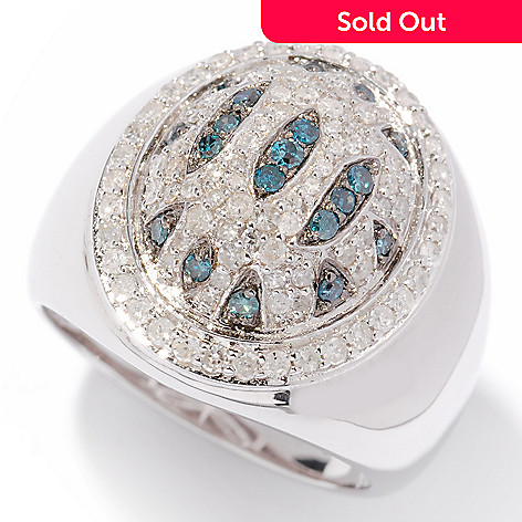 121-913 - Diamond Treasures® Sterling Silver 0.75ctw Blue & White Diamond Animal Print Ring