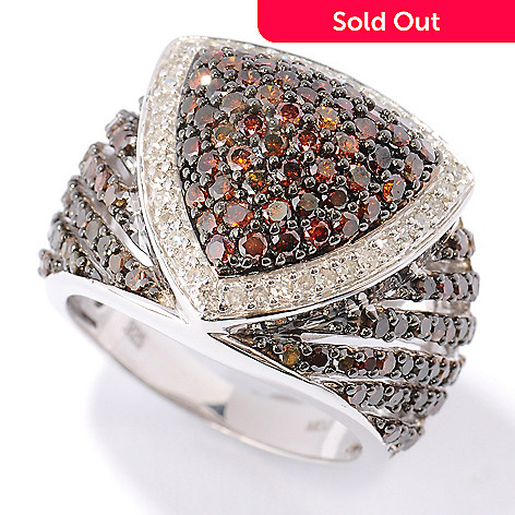 121-941 - Diamond Treasures Sterling Silver 2.00ctw Red & White Diamond Trillion Ring