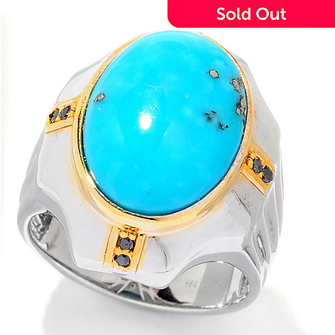 121-949 - Men's en Vogue II 18 x 13mm Turquoise & Black Diamond Ring