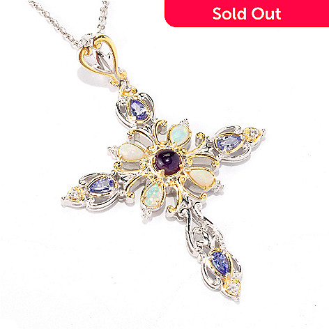 121-950 - Gems en Vogue Multi Gemstone Cross Pendant w/ 18'' Chain